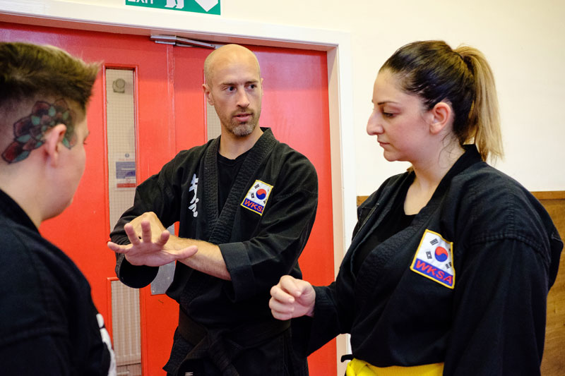 Graeme Temple Kuk Sool Won school owner explaining Kuk Sool Won techniques
